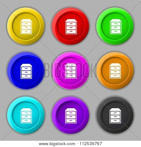 Nightstand Icon Sign. Symbol On Nine Round Colourful Buttons.