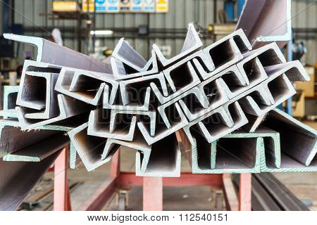 Heap Of U Shape Beam Steel In Factory Shelf