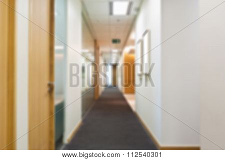 Blurred Hallway In Office Building