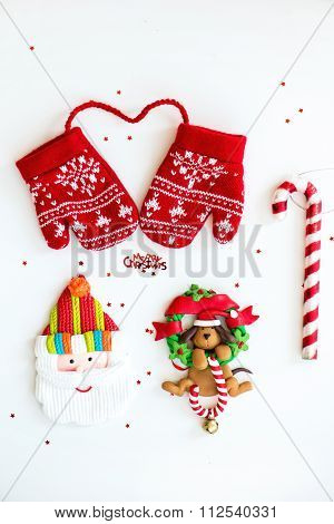 Merry Christmas Symbols - Letters, Red Knitted Mittens, Santa, Dog On Xmas Wreath With Lolly,candy C
