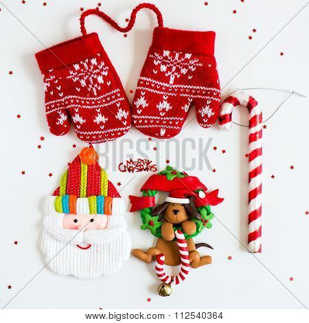 Merry Christmas Symbols - Letters, Red Knitted Mittens, Santa, Dog On Xmas Wreath With Lolly, Candy