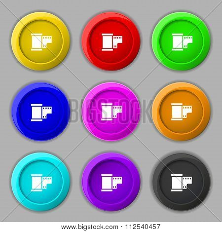 35 Mm Negative Films Icon Sign. Symbol On Nine Round Colourful Buttons.