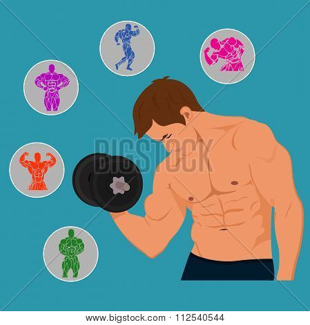 fitness, bodybuilding, man with set of Icons. Vector illustration