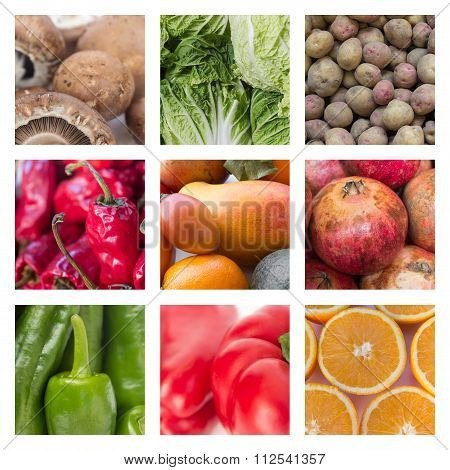 Collage Of Various Fruits And Vegetables - Food Concept