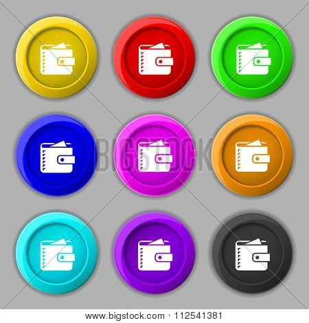 Purse  Icon Sign. Symbol On Nine Round Colourful Buttons.