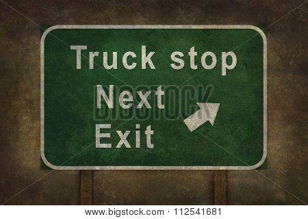 Truck Stop Next Exit Roadside Sign Illustration