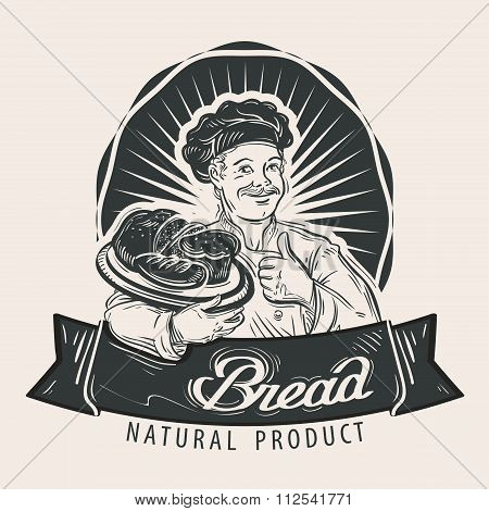 Bread vector logo design template. Cooking, food or fresh bakery, pastry icon