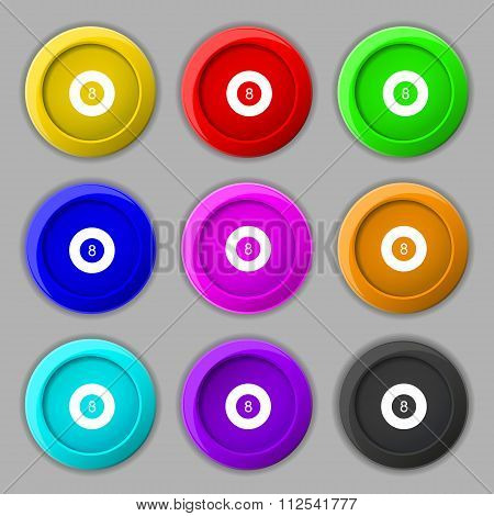 Eightball, Billiards  Icon Sign. Symbol On Nine Round Colourful Buttons.