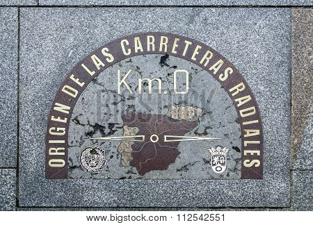detail of kilometre zero point in Puerta del Sol Madrid Spain