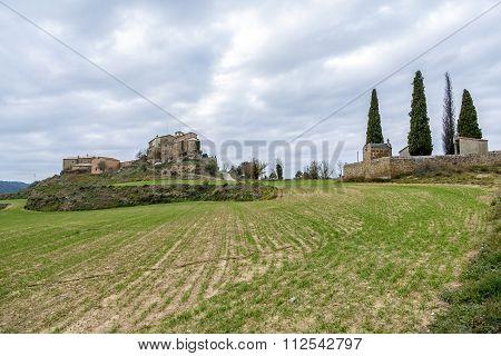 Ceuro castle XI-XII century Romanesque in Castellar de la Ribera Solsones. Catalonia Spain.