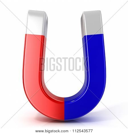 Red and blue horseshoe magnet. Front view