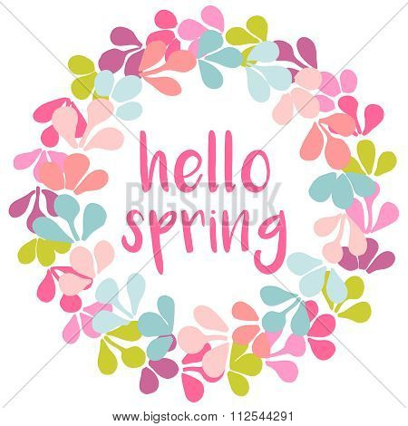 Hello spring watercolor wreath vector card