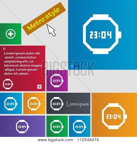 Wristwatch Icon Sign. Buttons. Modern Interface Website Buttons With Cursor Pointer.