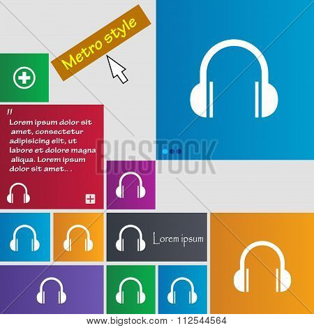 Headphones Icon Sign. Buttons. Modern Interface Website Buttons With Cursor Pointer.