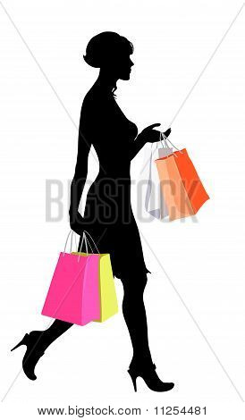 Shopping girl black