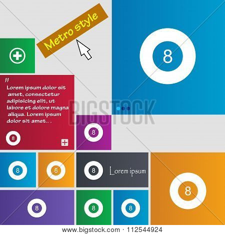 Eightball, Billiards  Icon Sign. Buttons. Modern Interface Website Buttons With Cursor Pointer.