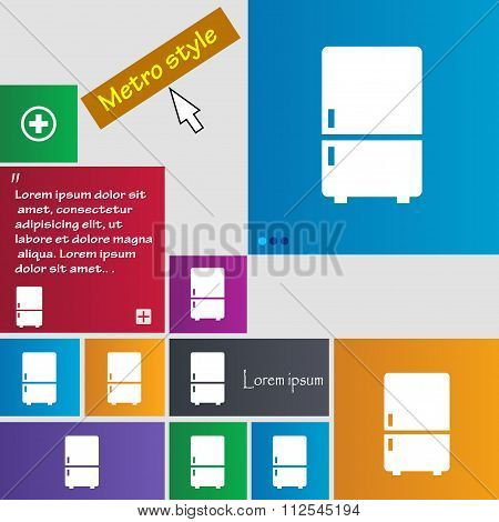 Refrigerator Icon Sign. Buttons. Modern Interface Website Buttons With Cursor Pointer.