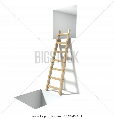 Wooden ladder window and hole. Abstract hopelessness concept. 3D