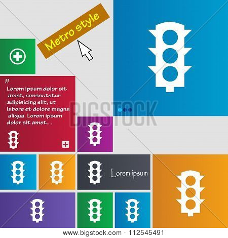 Traffic Light Signal Icon Sign. Buttons. Modern Interface Website Buttons With Cursor Pointer.