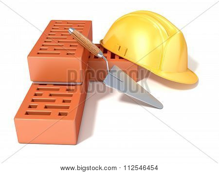 Safety helmet with rectangular perforated bricks and trowel. 3D