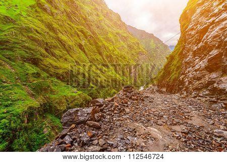 Beautiful stone pathway landscape in mountains, Annapurna area, Nepal