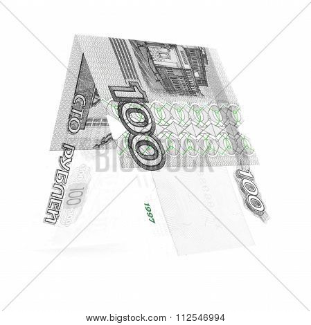 Bicolor Hundred Rubles Folded In Half, Russian Roubles Isolated White