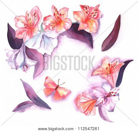 Watercolor Wreath With Peruvian Lilies, Leaves And Butterflies