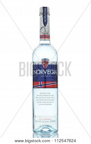 Norvegia premium vodka isolated on white background