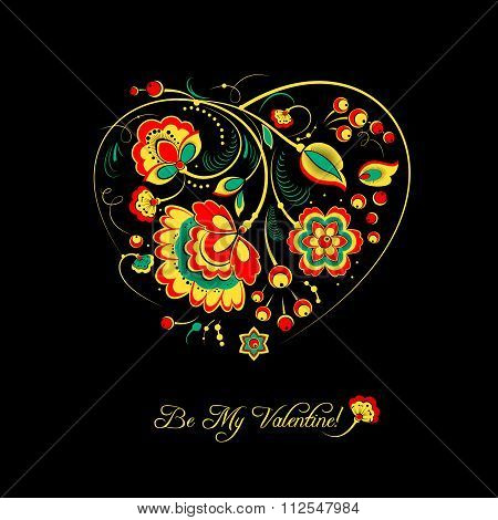 Valentine Card With Flowers In Khokhloma Style