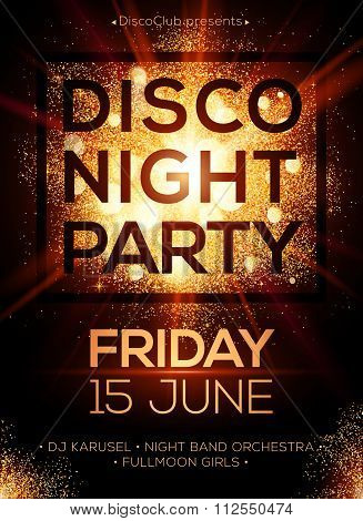 Disco night party poster template with shining golden spotlights background