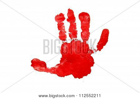 Red Child's Handprint Isolated On White