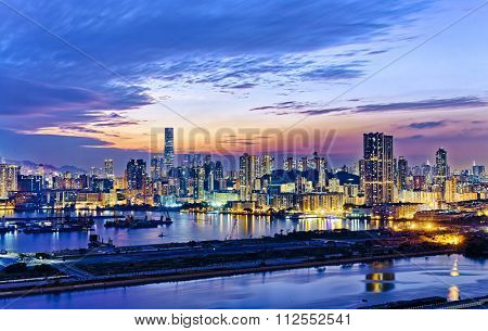 Hong Kong city sunset view from kowloon side