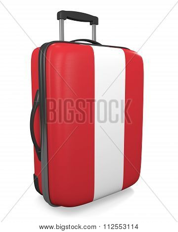 Peru vacation destination concept of a flag painted travel suitcase