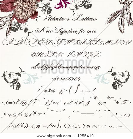 Beautiful Hand Made Script Typeface Or Font In Vintage Victorian Style