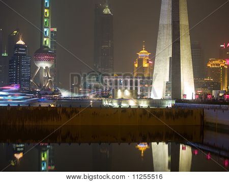 The Bund (Wai Tan) at night in Shanghai China
