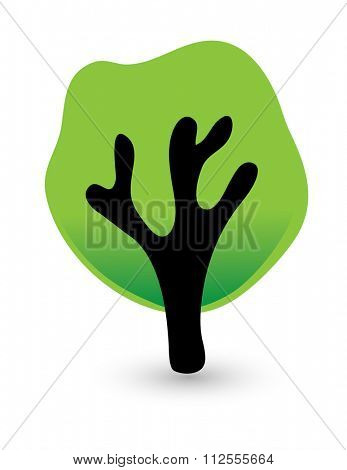 green tree isolated on white background, illustration