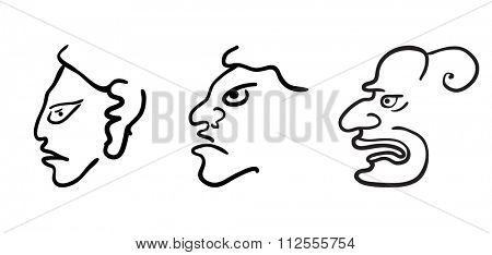 Faces in style of Maya Indians, illustration on white background