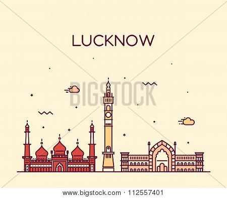 Lucknow skyline vector illustration linear style