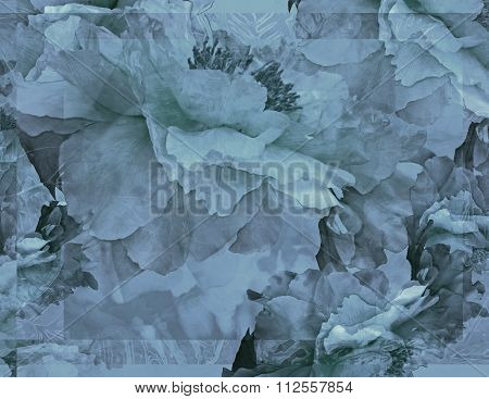 Floral Potpourri with Peonies in Blue-Gray