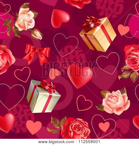 Seamless romantic pattern with roses, gifts and heart shapes. Vector illustration.