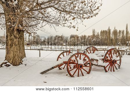 Antique Cart With Snow