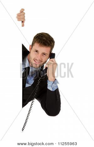 Businessman With Telephone Receiver.