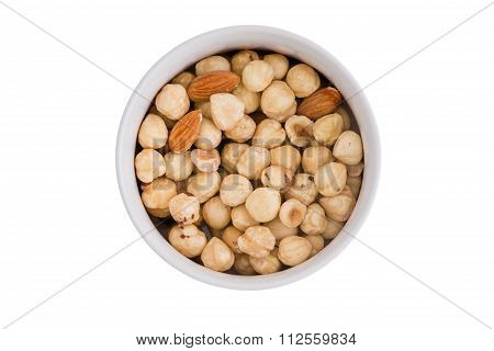Ramekin Of Fresh Hazelnuts And Almonds