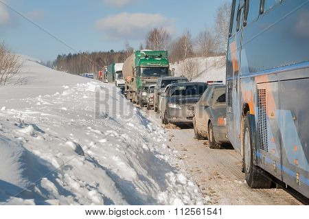 Traffic jam on highway after heavy snow storm