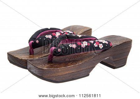 geta Japanese ornamental zori shoes worn with a yukata or a kimono.
