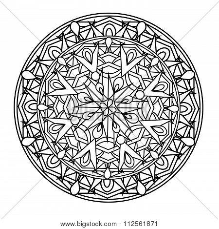 contour monochrome Mandala. ethnic religious design element