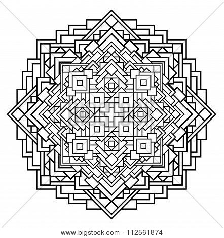 contour monochrome Mandala. ethnic religious design element with a circular pattern. Anti-paint for