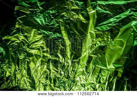 Green Aluminum Foil Is Crumpled