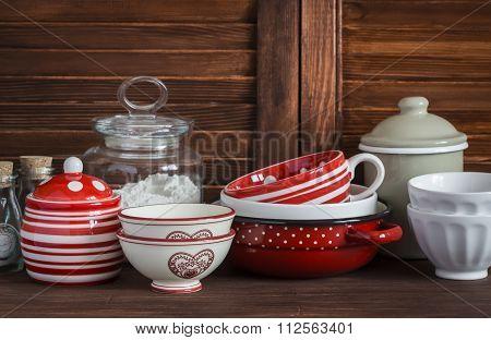 Kitchen Still Life. Vintage Crockery - Jar Of Flour, Ceramic Bowls, Pan, Enamelled  Jar,  Gravy Boat