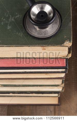 Black Stethoscope On Books Pile